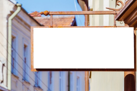 Mock up. Rectangular shape signboard on classical architecture building.