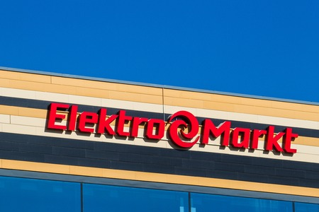 Vilnius, Lithuania - May 10, 2018: Elekromarkt logo and sign on the shopping center. Elektromarkt is one of the biggest retail chains of electronics and home appliances in Baltic States. Editorial