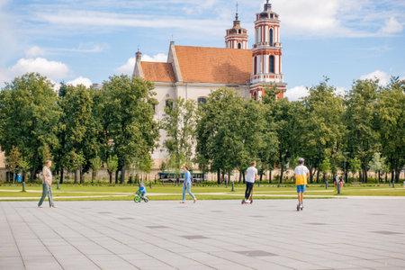 Vilnius Lithuania, July 06 2018: View to Lukiskes square, the largest square in Vilnius Lithuania