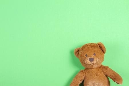 Teddy bear toy on green background