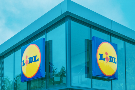Vilnius, Lithuania- August 25, 2018: Sign of Lidl Supermarket. Lidl is a German discount supermarket chain