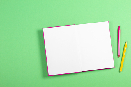 Open blank book on green background