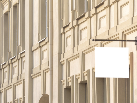 Horizontal front view of blank rectangular signboard on a building classical architecture building