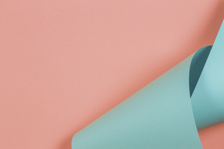 Abstract colorful background. Pastel pink and blue color paper in geometric shapes