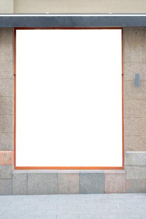 Maquette. Panneau d'affichage publicitaire vierge, enseigne, vitrine de magasin sur le mur Banque d'images