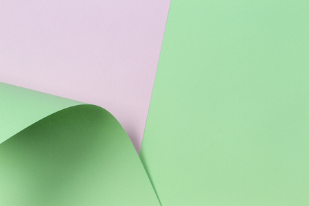 Abstract geometric shape pastel green and white color paper background