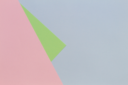 Blue, pink, green pastel color paper geometric flat lay background
