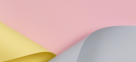 Abstract background. Pastel pink, yellow, blue color paper in geometric shapes Stok Fotoğraf