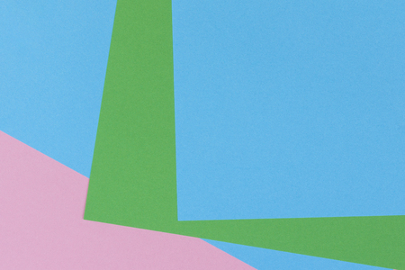 Abstract geometric shape light blue, green, pastel pink color paper background