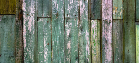 Old vintage shabby green tone weathered painted wood banner background