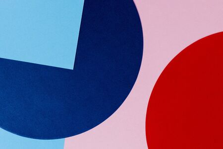 Texture background of fashion papers in memphis geometry style. Blue, light blue, red and pastel pink colors. Top view, flat lay