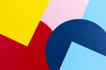 Texture background of fashion papers in memphis geometry style. Yellow, blue, light blue, red and pastel pink colors. Top view, flat lay 写真素材
