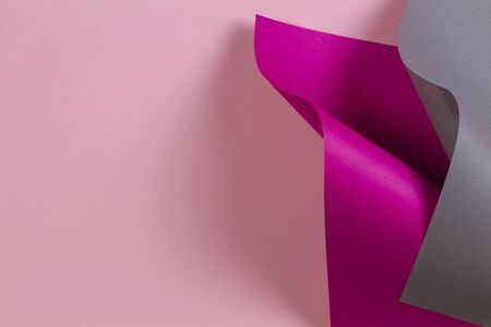 Abstract geometric shape pink magenta grey color paper background