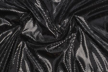 Gray black metalic silver polka dot fabric texture background