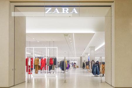 Vilnius, Lithuania - 24 September 2019: Interior of Zara store on the shopping center Akropolis. Zara - popular Spanish apparel retailer