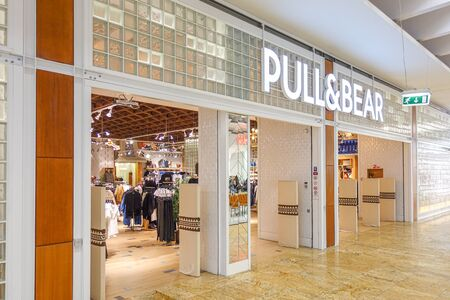 Vilnius, Lithuania - 24 September 2019: PULL AND BEAR fashion store in Vilnius Akropolis, Lithuania. Pull and Bear is Spanish clothing and accessories retailer