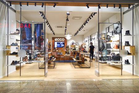 Vilnius, Lithuania - 24 September 2019: Ecco store in Vilnius Akropolis shopping center. Ecco - Danish shoe manufacturer and retailer
