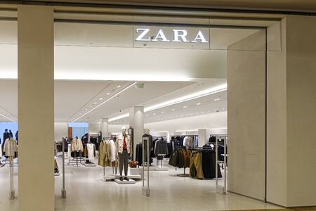 Vilnius, Lithuania - 24 September 2019: Zara clothes store on the shopping center Akropolis. Zara - popular Spanish apparel retailer Redactioneel