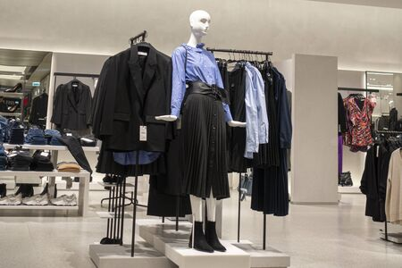 Vilnius, Lithuania - 3 October 2019: : Zara clothing store interior inside shopping center Akropolis. Zara is popular Spanish apparel retailer