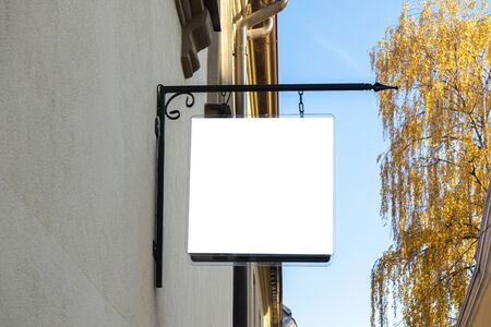 Mock up. Rectangular shape signboard of store, shop, restaurant, office on the wall of classical architecture building