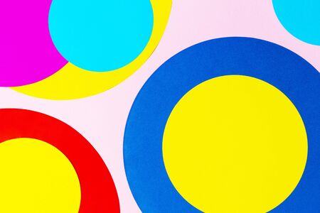 Texture background of fashion papers in memphis geometry style. Yellow, blue, magenta, pink colors. Top view, flat lay