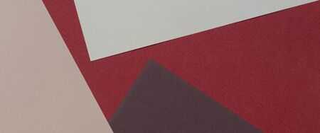 Color papers geometry composition banner background with beige, light brown and dark brown tones