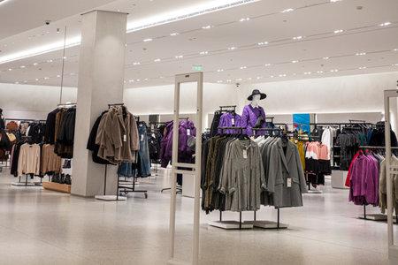 Vilnius, Lithuania - 3 October 2019: Zara clothing store interior inside shopping center Akropolis. Zara is popular Spanish apparel retailer