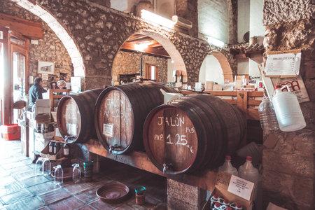 Xalo, Spain - February 3, 2018: Wine barrels in a old wine winery store, Spain Redakční