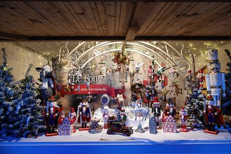Vilnius, Lithuania - December 09, 2019: European Christmas market stall in Vilnius Cathedral square, Lithuania