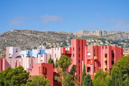 Calp, Spain, 17 June, 2019: La Muralla Roja building, Red Wall building in Calp, Spain Redakční