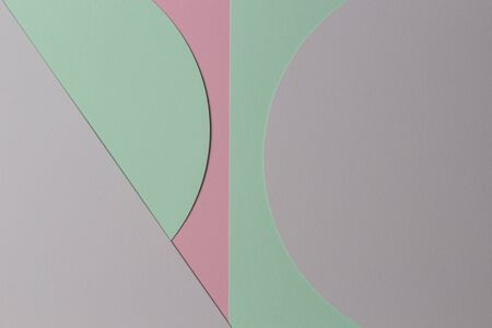 Abstract colored paper texture background. Minimal geometric shapes and lines in pastel pink, gray, light blue and green colours.