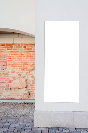 Mock up. Rectangular shape billboard or signboard on the wall of classical architecture building Reklamní fotografie