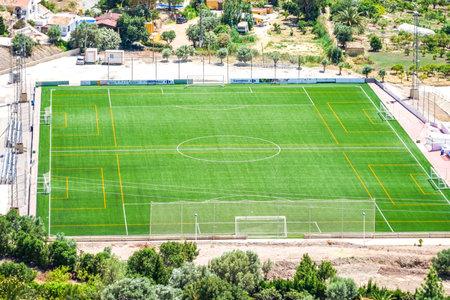 Finestrat, Spain - 12 June 2019: Outdoors soccer field, football stadium, Finestrat, Spain Redakční