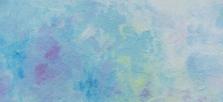 Abstract blue pink yellow and white painted wall texture background outdoors. Stockfoto