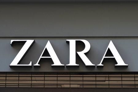 Valencia, Spain - January 02, 2020: Zara logo sign on shop entrance in Valencia, Spain. Zara is popular Spanish clothing and accessories retailer