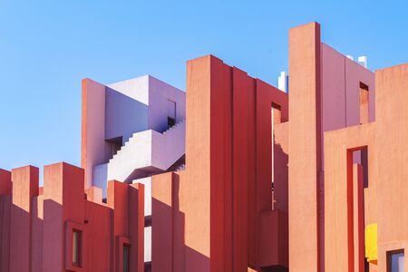 Calp, Spain, 01 January, 2020: La Muralla Roja building, Red Wall building in Calp, Spain Redakční