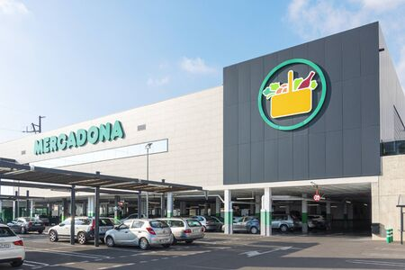 Finestrat, Spain - January 04, 2020: Mercadona supermarket in Finestrat, Spain. Mercadona is popular supermarket chain in Spain