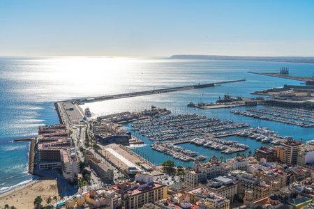 Alicante, Spain - December 23, 2019: Panoramic view to Mediterranean sea and Alicante city, Costa Blanca, Spain