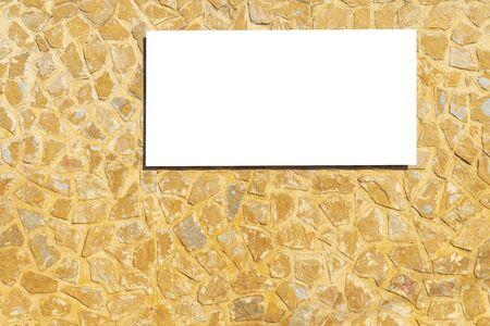 Mock up. White blank billboard outdoors, outdoor advertising signboard, horizontal board on masonry stone wall outdoors