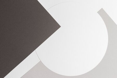 Abstract colored paper texture background. Minimal geometric shapes and lines in brown, gray, white and beige colours