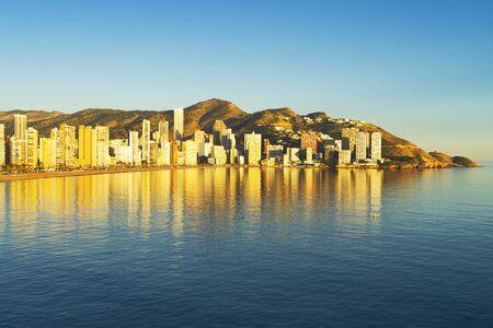 View to Benidorm city, Levante beach and Mediterranean sea, Spain