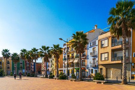 Villajoyosa, Spain - January 06, 2020: View to colorful houses of small town Villajoyosa, Costa Blanca, Spain