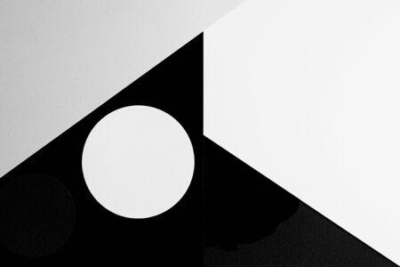 Abstract minimal geometric shape black gray white color paper background. Reklamní fotografie