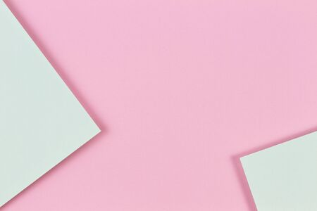 Abstract colored paper texture background. Minimal geometric shapes and lines in pastel pink and light green colours Reklamní fotografie