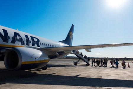 Alicante, Spain 11 January, 2020 - Passengers boarding on Ryanair flight