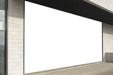 Mock up. Big horizontal billboard banner, store showcase window, signage mock up display on building wall outside
