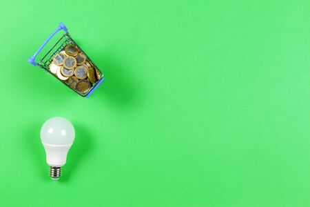 Electric light bulb and mini shopping cart trolley full of money coins on green background. Energy savings concept
