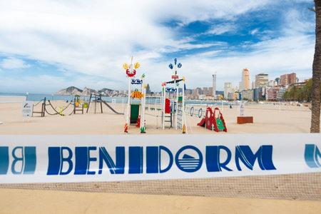 Benidorm, Spain - June 14, 2020: Empty beaches and closed playground in Benidorm due to the Coronavirus pandemic quarantine