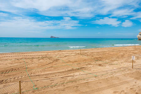 Empty closed beaches in Benidorm due to the Coronavirus pandemic quarantine. Beaches are ready for reopen