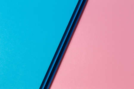Abstract color papers geometry flat lay composition background with blue and pink color tones Foto de archivo